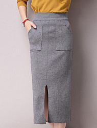 Women's Pencil Solid Skirts,Going out / Casual/Daily Simple Mid Rise Midi Elasticity Polyester Micro-elastic Summer