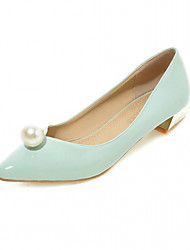 Women's Heels Spring Fall Comfort Leatherette Office & Career Dress Casual Low Heel Imitation Pearl Green Silver Gray