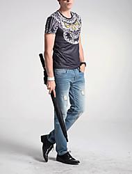 Herren Solide Tierfell-Druck Einfach Lässig/Alltäglich T-shirt,Rundhalsausschnitt Sommer Kurzarm Schwarz Seide Polyester Mittel