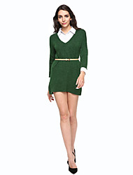 Women's Casual/Daily Simple Loose Dress,Color Block Shirt Collar Above Knee Long Sleeve Green Cotton / Polyester Fall Mid Rise Inelastic