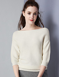 KAN F Women's Casual/Daily Simple Fall ShirtSolid Boat Neck Long Sleeve White Cotton