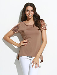 Damen Solide Retro / Einfach Ausgehen / Lässig/Alltäglich T-shirt,Rundhalsausschnitt Sommer Kurzarm Braun Baumwolle Mittel