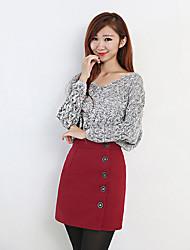 Damen Röcke,Bodycon einfarbigLässig/Alltäglich Vintage Mittlere Hüfthöhe Über dem Knie Knopf Polyester Micro-elastisch Winter