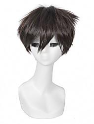 25 centímetros marrom escuro curto ataque de corte de cabelo anime em frente harajuku cosplay titan eren Jaeger perucas masculinas