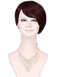6A Synthetic Cosplay Wigs Women's Short Straight Burgundy Wig Heat Resistant Fiber Wig