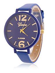 Mulheres Relógio de Moda Relógio de Pulso Quartzo / Mostrador Grande PU Banda Vintage Legal Casual PretaAmarelo Vermelho Verde Azul Rosa