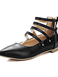 Women's Flats Spring Summer Fall Winter Gladiator Leatherette Dress Casual Party & Evening Flat Heel Applique Zipper Black Blue Red White