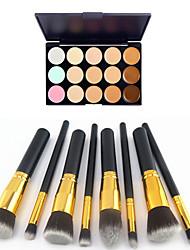 8PCS Golden Black Handle Cosmetic Makeup Brush Set&15 Colors Natural Concealer(2 Color Concealer Choose)