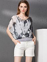 Damen Einfarbig Retro Lässig/Alltäglich T-shirt Rock Anzüge,Rundhalsausschnitt Herbst Kurzarm Schwarz / Grau Baumwolle / Polyester