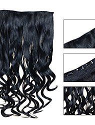 24inch 60cm 120G color 60# Clip in On Hair Extensions Wavy Clip On Hairpieces