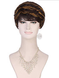 6A Synthetic Cosplay Wigs Women's Short Straight Brown/Auburn Wig Heat Resistant Fiber Wig