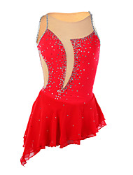 Robe de Patinage Femme Sans manche Patinage Robes Haute élasticité Robe de patinage artistique Elasthanne Rouge Tenue de Patinage