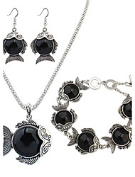 Schmuck 1 Halskette 1 Paar Ohrringe 1 Armreif Party Aleación Harz 1 Set Damen Schwarz Rot Grün Hochzeitsgeschenke
