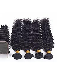 Cabelo Humano Ondulado Cabelo Brasileiro Onda Profunda 12 meses 5 Peças tece cabelo