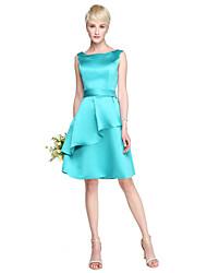 Lanting Bride® Hasta la Rodilla Satén Vestido de Dama de Honor - Corte en A Hombros al Aire Talla Grande / Pequeña conVolantes / Cinta /