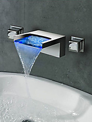 Contemporary Chrome-Plated LED RGB Water Temperature Color Change Bathroom Sink Faucet