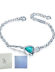 SILVERAGE Sterling Silver Maldives Blue Heart Key Link Bracelet