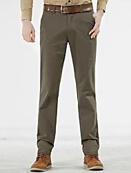 Masculino Solto Chinos Calças-Cor Única Casual Simples Cintura Média Zíper Algodão Micro-Elástico Todas as Estações