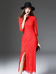 Gaine Robe Femme Décontracté / Quotidien Chinoiserie,Broderie Mao Maxi Manches ¾ Rouge Polyester Automne / Hiver Taille Haute