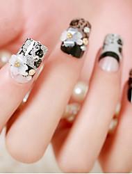 24 штук невесты ногтей лак для ногтей ложные продукта закончил черные кружева цветок накладные ногти