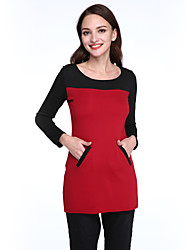 Women's Patchwork Red / Gray Dress , Casual Round Neck Long Sleeve