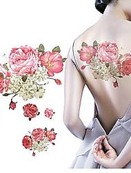 1 pcs impermeável rosa flores multicoloridas bege enviada de volta tatuagem padrão adesivos