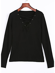 Damen Solide Street Schick Lässig/Alltäglich T-shirt,V-Ausschnitt Frühling / Herbst Langarm Schwarz Baumwolle Mittel