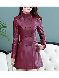 Women's Plus Size Going out Sexy Trench Coat,Solid Long Sleeve Black Purple PU