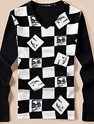 Tee-shirt Hommes,Géométrique Décontracté / Quotidien Chic de Rue Manches Longues Col en V Blanc Noir Rayonne Moyen