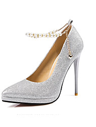 Feminino-Saltos-Sapatos com Bolsa Combinando-Salto Agulha-Preto Prateado Dourado-Couro Envernizado-Escritório & Trabalho Casual Festas &