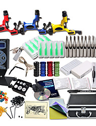Great Tattoo Kits 3 Rotary Machine New Design Power box 50 Tattoo Needles with Carrying Case LCD Power Supply 100 Tattoo Ink Cups 1 Practice Skin