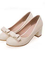 Feminino-Saltos-Sapatos com Bolsa Combinando-Salto Grosso-Preto Rosa Branco Bege-Courino-Casual Festas & Noite