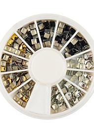 ouro / prata / preto quadrado liga rebite nail art decoração 3x3mm