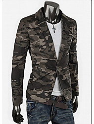 Men's Camouflage Casual Blazer,Cotton Long Sleeve Green / Gray