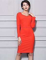 BAOYAN Women's Casual/Daily Street chic Sheath DressSolid V Neck Knee-length Long Sleeve Orange Nylon Winter Mid Rise Stretchy Medium-160569