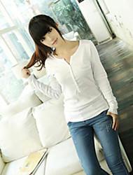 Damen Solide Einfach / Street Schick Lässig/Alltäglich T-shirt,V-Ausschnitt Frühling / Herbst Langarm Weiß / Schwarz / Grau Mittel