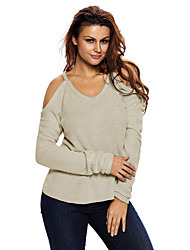 Women's Apricot Cold Shoulder Knit Long Sleeves Sweater