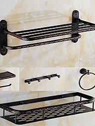 A Set of Five Products(Bathroom Shelf/Toilet Paper Holder/Towel Ring/Robe Hook/Shower Basket)of Oil Rubbed Bronze