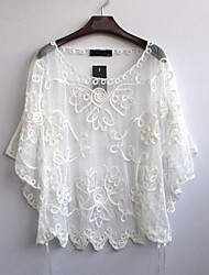 Women's Embroidery Fashion Loose Bat Sleeves Top