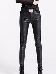 Feminino Skinny Chinos Calças-Letra Casual Simples Cintura Média Botão Algodão / Poliéster / Elastano Inelástico Inverno