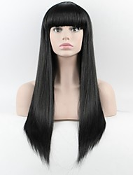 The latest wig Ms. Long straight Qi Liu Black High Temperature Wire Wig