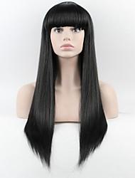 as últimas ms peruca. longa reta Liu Qi peruca fio preto de alta temperatura