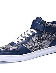 Men's Sneakers Spring Fall Comfort PU Casual Flat Heel Hook & Loop Blue Silver Gray Black and Gold