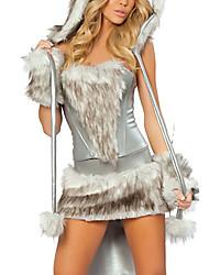 Costumes de Cosplay Costume de Soirée Animal Fête / Célébration Déguisement d'Halloween Gris Mosaïque Haut Jupe Gants Jambières Chapeau