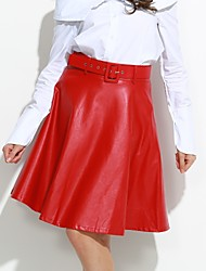 Women's Solid Red / Black / Gray SkirtsActive Knee-length