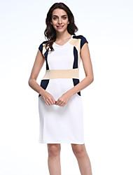 Women's Patchwork White Dress , Sexy Round Neck Short Sleeve