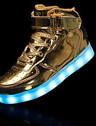 Para Niño-Tacón Plano-Light Up Zapatos Confort-Botas-Informal-Cuero-Negro Rojo Blanco Plata Oro