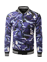 Men's Casual/Daily Simple Jackets,Print Stand Long Sleeve Spring Fall Purple Cotton Medium