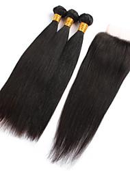 4 Pièces Droit (Straight) Tissages de cheveux humains Cheveux Brésiliens 8-28 inch Extensions de cheveux humains
