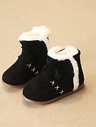 Girl's Boots Winter Comfort Suede Casual Flat Heel Black